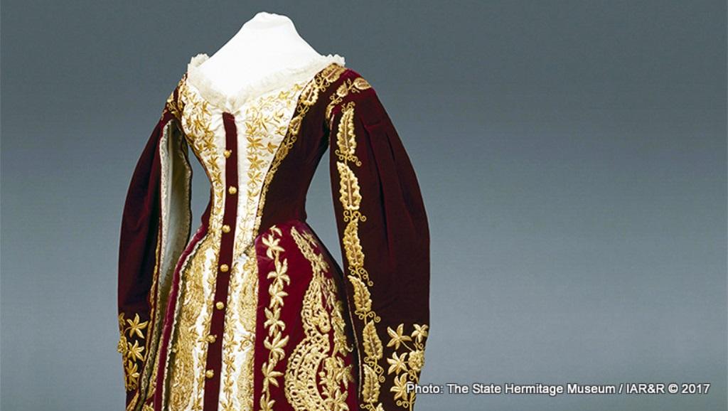 Образец на златосърмена бродерия по различни платове при направата на официален дамски костюм