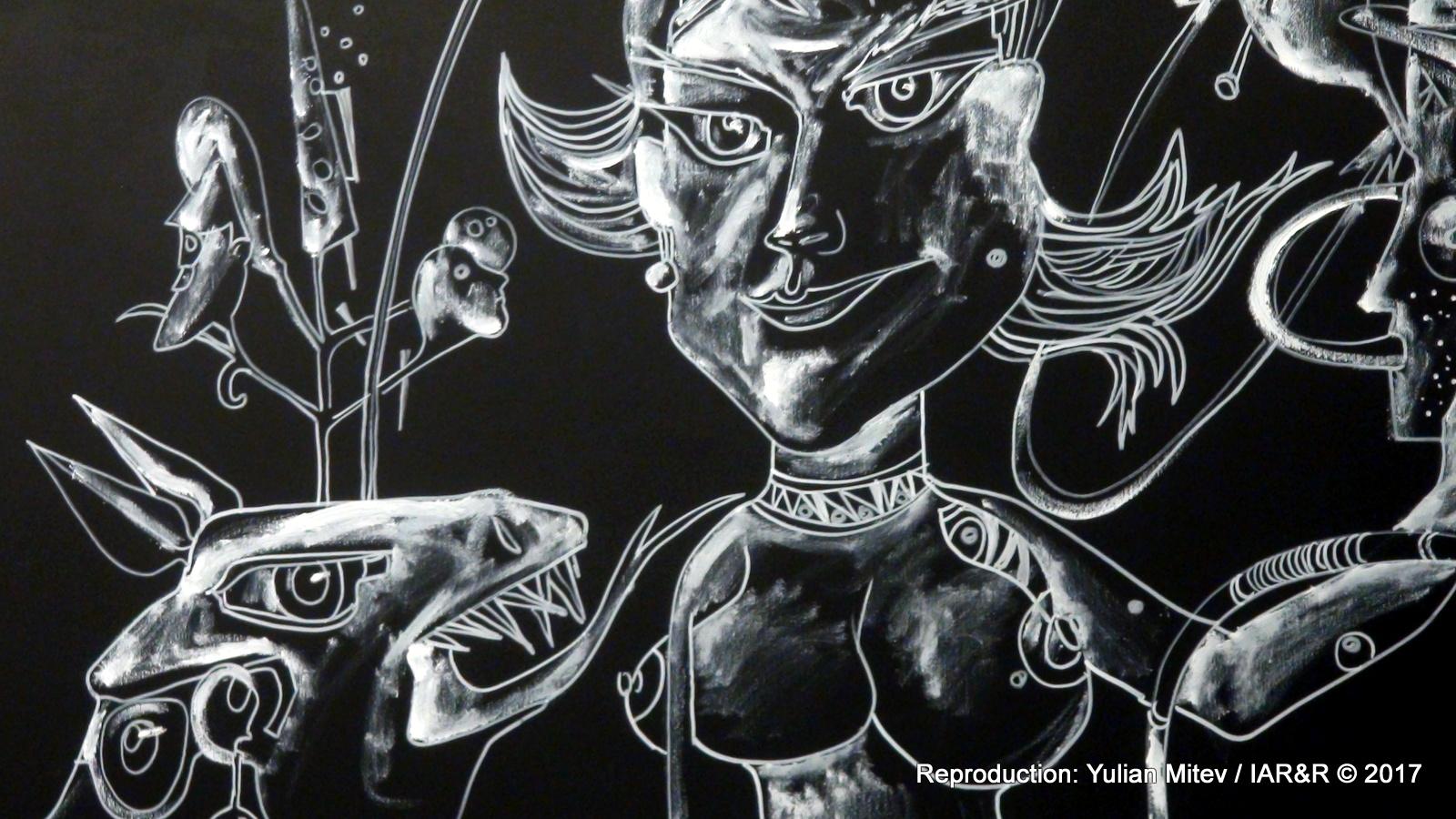 """НИКОЛАЙ ПАНАЙОТОВ, """"Парижки улични разпятия ІІ"""" (фрагмент), 2017, 195 х 300 см, провенанс – ателието на художника, естимейт: 2100 €"""