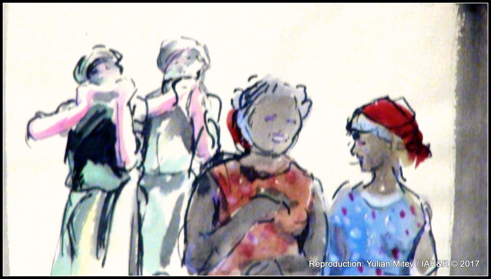 """ИЛИЯ БЕШКОВ, """"Пролет"""" (фрагмент), ок. 1936, туш, лави, акварел, провенанс – ХГ """"Илия Бешков"""", Плевен"""