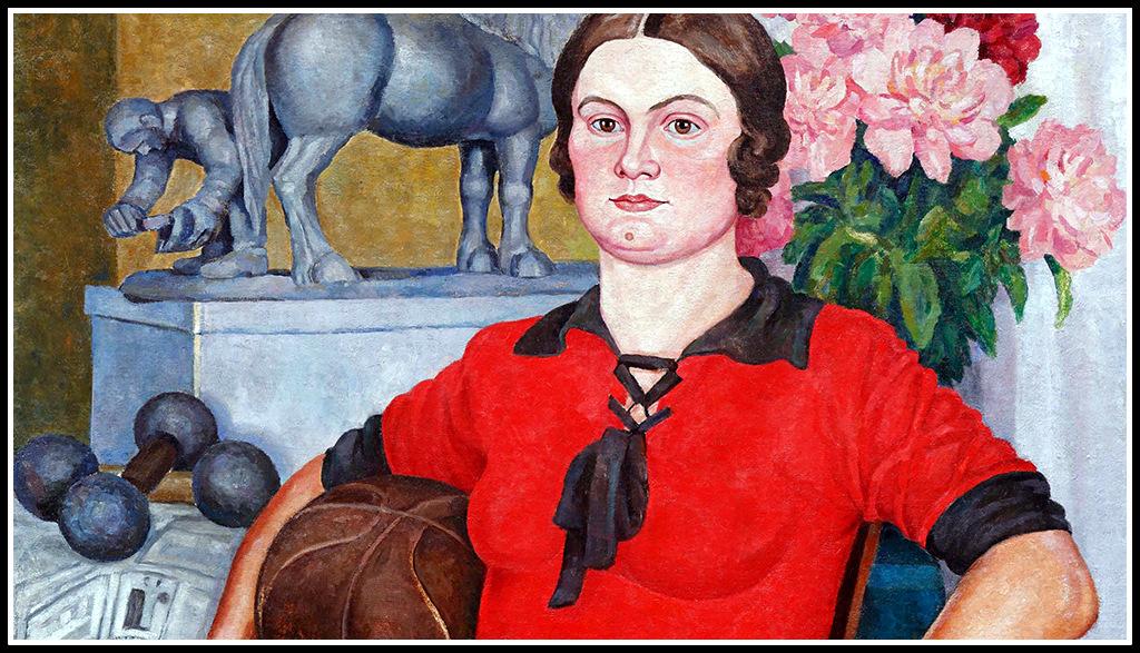 """Александър Монин. """"Физкултурата - залог за здраве"""" (портрет на жената на художника - О. Н. Монина, фрагмент), 1929 г. Фото: архив на Роман Бабичев"""