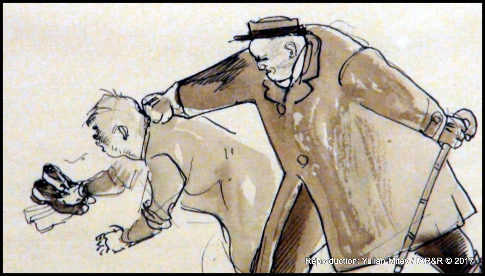 """ИЛИЯ ПЕТРОВ, Хумористична рисунка (фрагмент), молив, туш, лави, хартия, провенанс – фонд на Отделна експозиция """"Ем. Станев"""" при Великотърновския филиал на Националния литературен музей"""