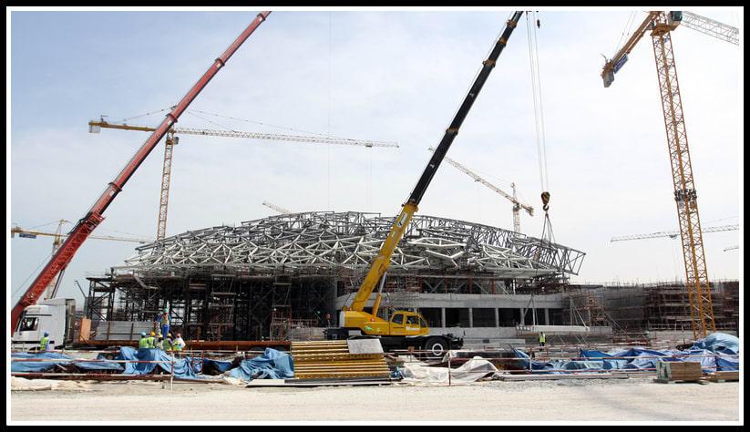 Строителството на музея «Лувър в Абу Даби» по проект на Жан Нувел на късен етап. © TDIC, Design: Ateliers Jean Nouvel