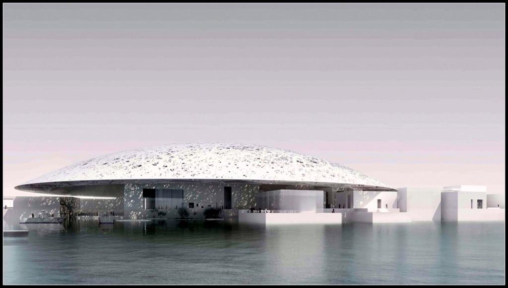 Жан Нувел. Проект за зданието на  музея «Лувър в Абу Даби», вид откъм морето, 2009. © TDIC, Design: Ateliers Jean Nouvel