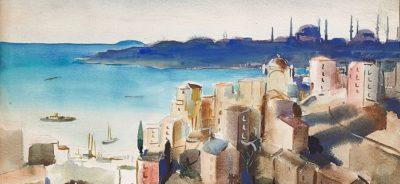 Истанбул, 1943 акварел, молив върху хартия, 41 х 55 см