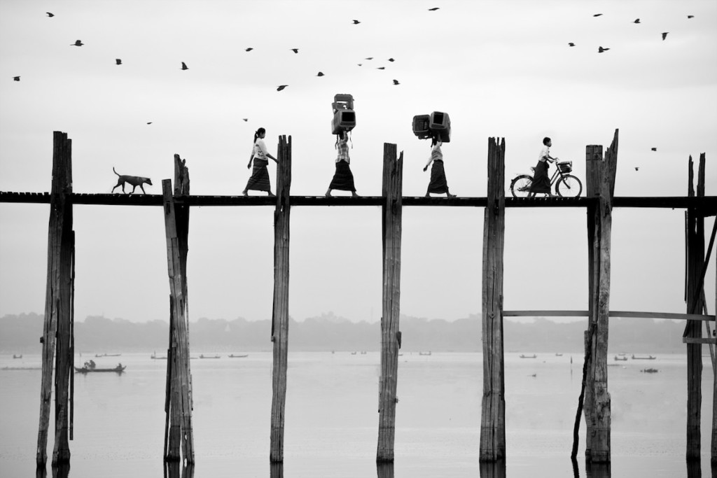 'Walking' © Suphakaln Wongcompune, Thailand, Commended, Open, Travel (Open competition), 2018 Sony World Photography Award. U-Bein Bridge, Myanmar.